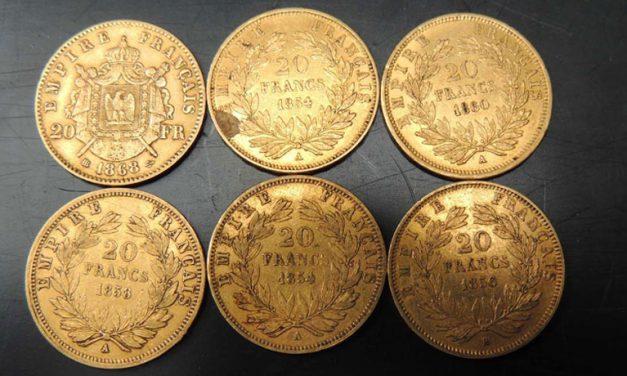 Les différentes pièces en or